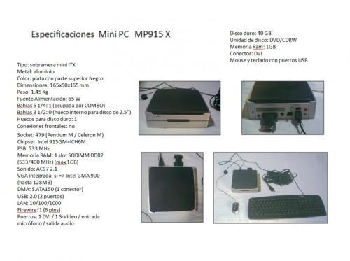 Vendo mini pc aopen (cpu, con mouse, teclado y convertidor de señal) para adaptarlo a cualquier monitor