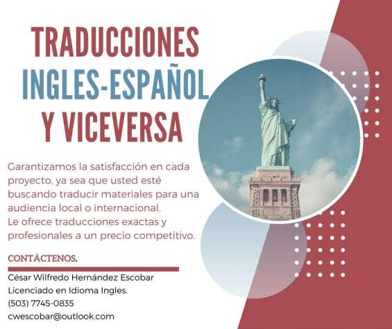 Traducciones inglés español y viceversa.